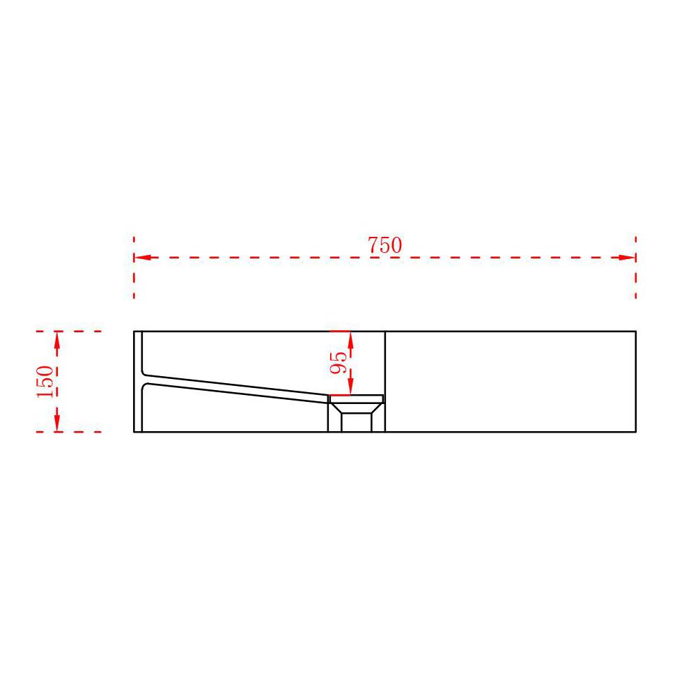 Countertop wash Basin TWG08 - 75x32,5x15cm - pure acrylic – Bild 6