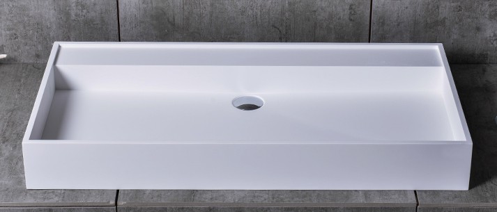 Countertop washbasin wall-mounted washbasin TWG12 made of pure acrylic - 90x45x11cm - – Bild 3