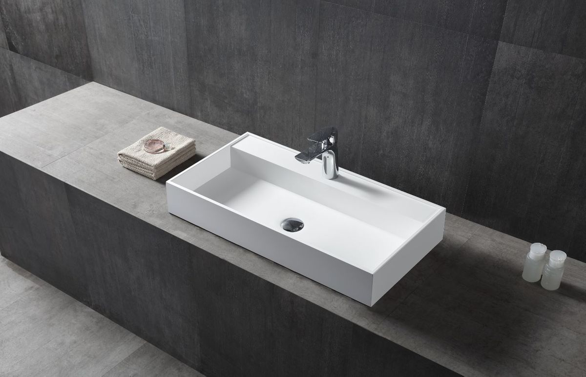 Countertop washbasin wall-mounted washbasin TWG12 made of pure acrylic - 90x45x11cm - – Bild 1