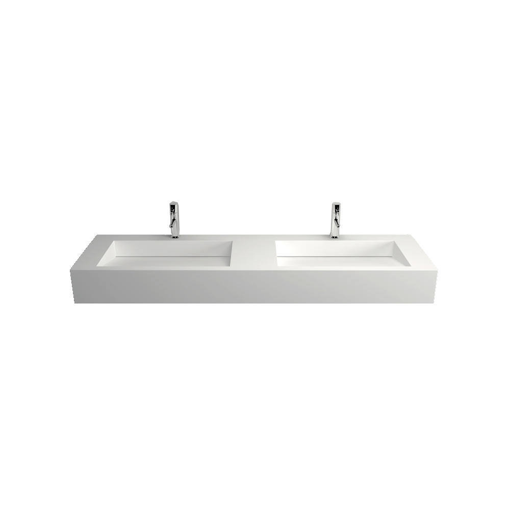 Countertop washbasin wall-mounted washbasin TWG16 made of solid stone - 153x45x15cm – Bild 2