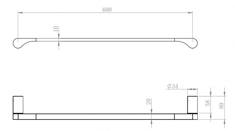 Barre porte-serviette mural SDVHH60 au design arrondi - Série VERSA  – Bild 3