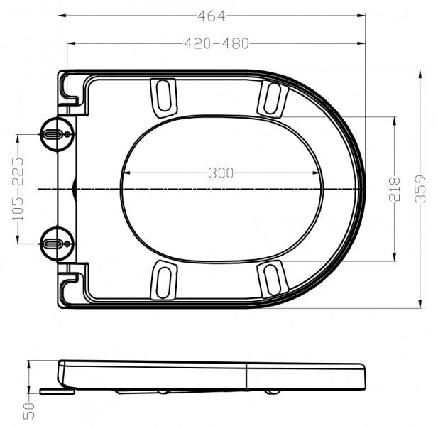 Siège et abattant de remplacement noir pour les WC suspendus BERNSTEIN  (CH1088/1088R/NT2019/NT2039/B-8030) – Bild 4