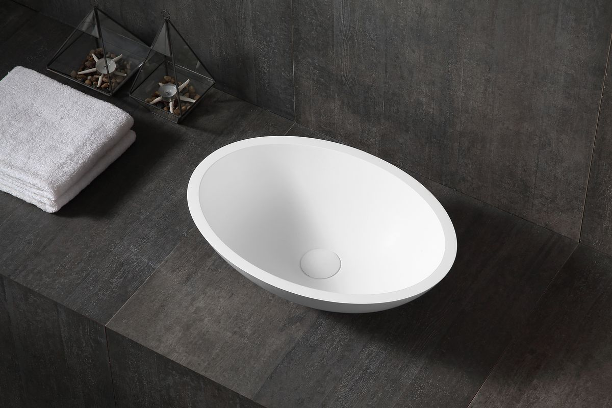 Counter top basin TW2106  of mineral cast (Pure Acrylic) - Matte - 50 x 35 x 15 cm – Bild 1