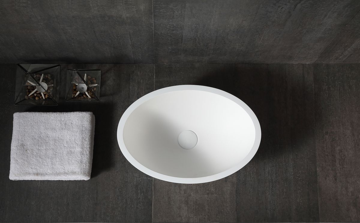 Counter top basin TW2106  of mineral cast (Pure Acrylic) - Matte - 50 x 35 x 15 cm – Bild 2