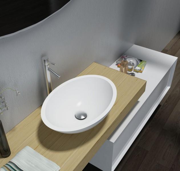 Vasque à poser TW2106 en fonte minérale (Pure Acrylic) - Haute brillance - 50 x 35 x 15 cm