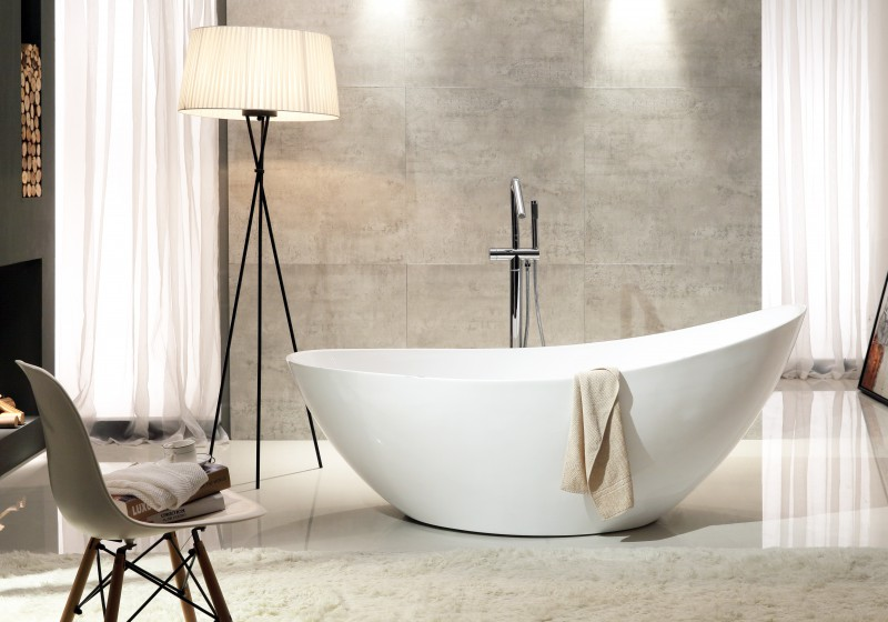 Freestanding bathtub VICE of sanitary acrylic - glossy white - 183,5 x 78,5 x 77 cm