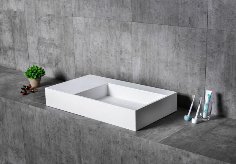 Wandwaschbecken Aufsatzwaschbecken TWG21 aus Mineralguss (Solid Stone) -  80 x 50 x 12 cm – Bild 3