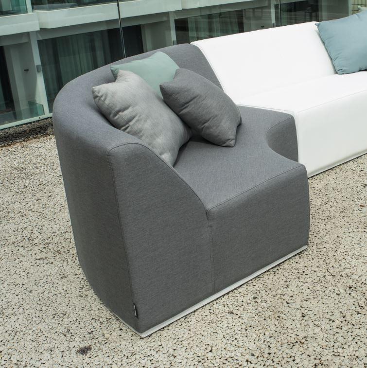 BERNSTEIN Gartenlounge-Eckelement BAY ROUND - Sunbrella Textil - Textilfarbe wählbar – Bild 1