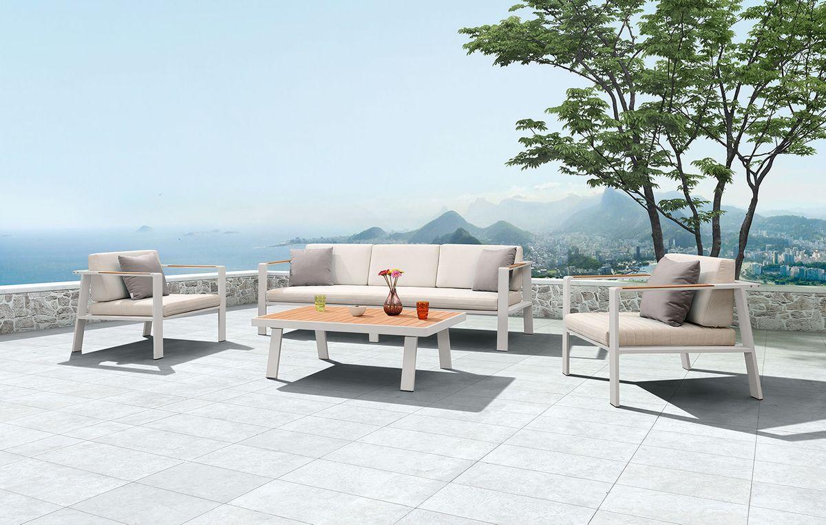 BERNSTEIN Gartenlounge NOFI - Einzelelement 3er-Sofa mit Armlehnen und Kissen – Bild 2