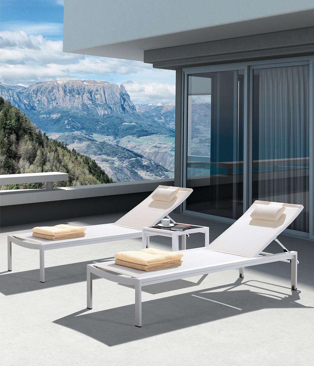 Gartenliege Sonnenliege COCKTAIL Alu/Textil - Weiß/Creme - 2er-Set Rollliege mit verstellbarem Kopfteil