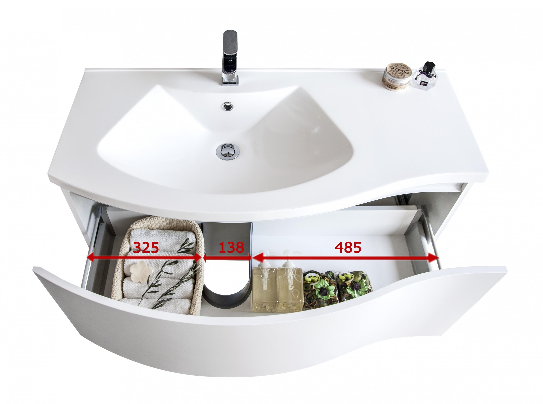 meubles de salle de bains lena 1000 blanc mat miroir en