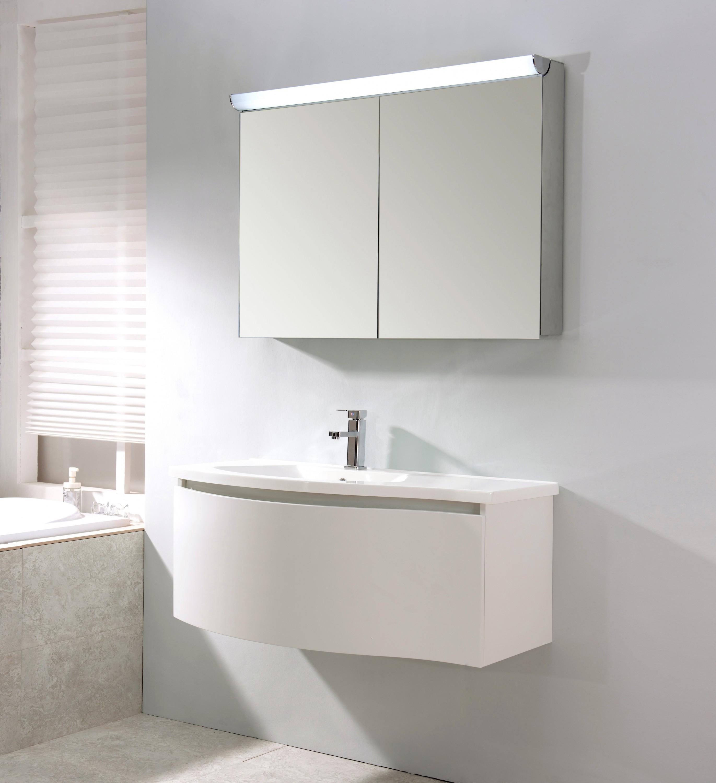 Mobile bagno sospeso LENA 1000 bianco opaco - specchio a scelta ...
