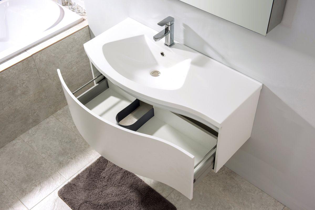 Meubles de salle de bains LENA 1000 blanc mat - miroir en option – Bild 4