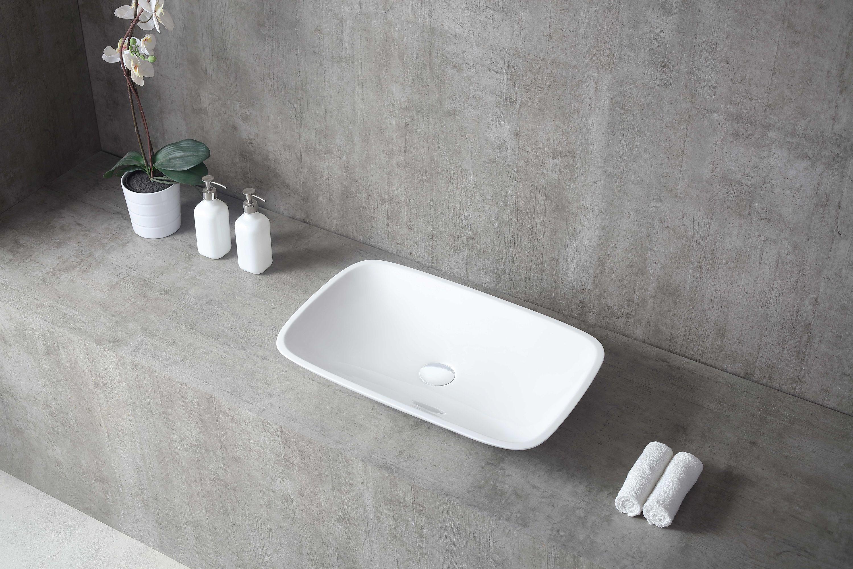 Vasque à poser TWA06 en fonte minérale (Pure Acrylic) - Haute brillance - 60,5 x 38,5 x 10,5 cm