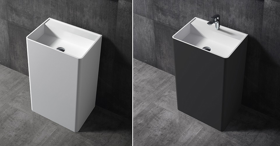 Freestanding wash basin TWZ26 of Solid Stone - white or black - 50x36x85cm – Bild 1