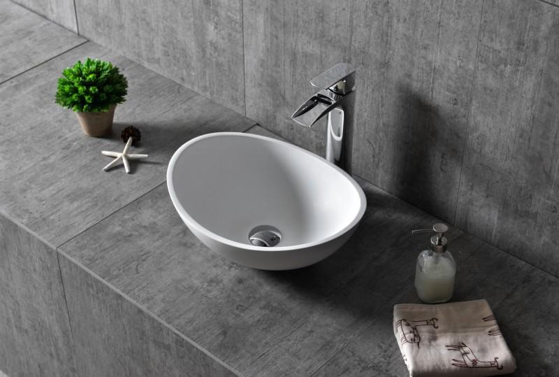 Vasque à poser TWA29 en fonte minérale (Pure Acrylic) - blanc mat -  42x34x15cm – Bild 1