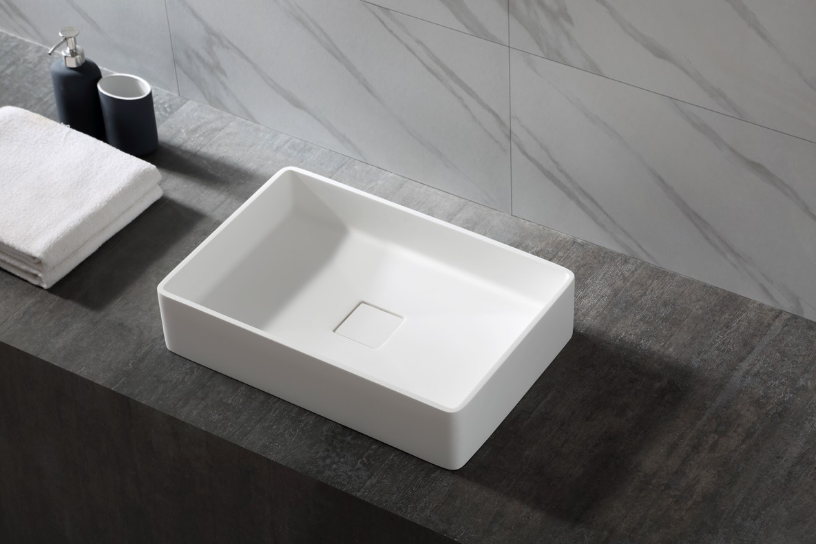 Countertop basin AQUA of mineral cast (Pure Acrylic) - 48x32x10,5cm - White glossy or matte – Bild 1