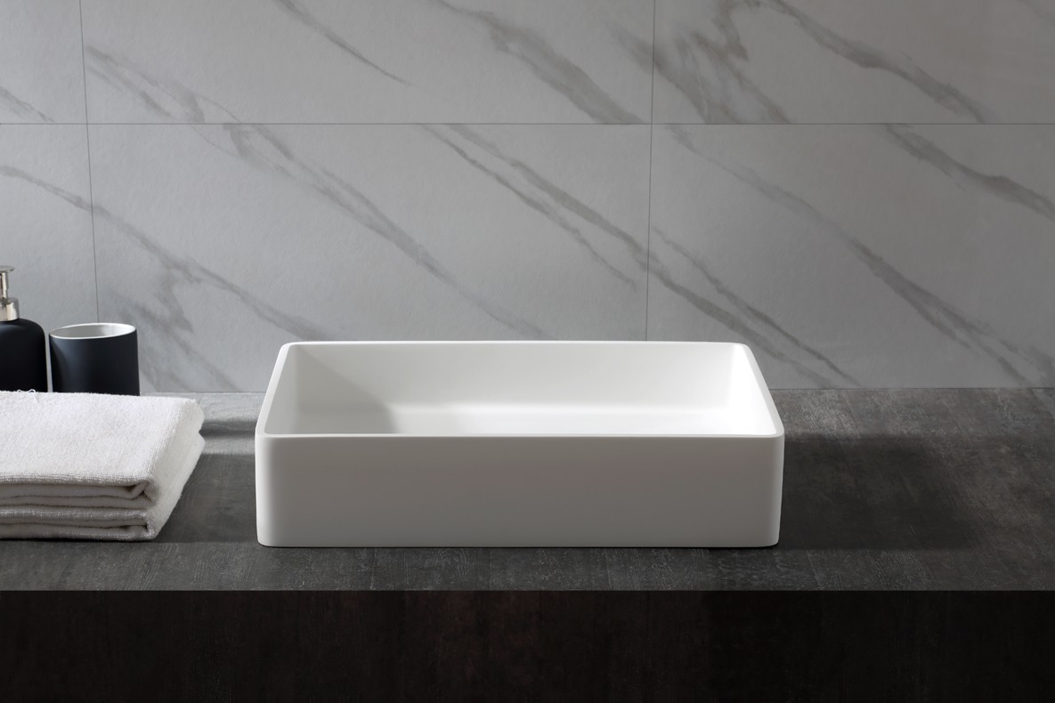 Countertop basin AQUA of mineral cast (Pure Acrylic) - 48x32x10,5cm - White glossy or matte – Bild 3