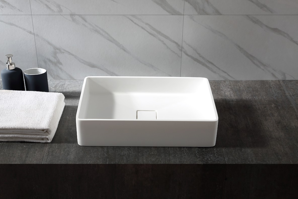 Countertop basin AQUA of mineral cast (Pure Acrylic) - 48x32x10,5cm - White glossy or matte – Bild 4