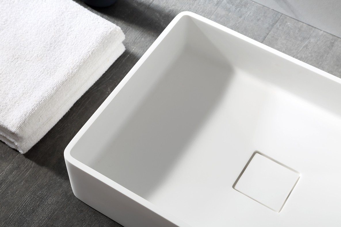 Countertop basin AQUA of mineral cast (Pure Acrylic) - 48x32x10,5cm - White glossy or matte – Bild 5