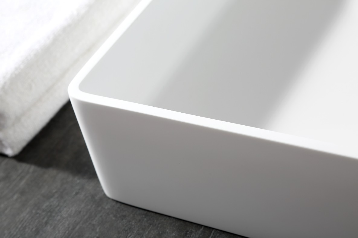 Countertop basin AQUA of mineral cast (Pure Acrylic) - 48x32x10,5cm - White glossy or matte – Bild 6