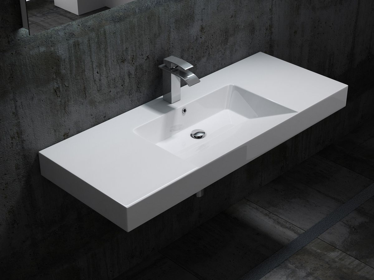 Wall hung basin / wall mounted basin- cast marble - BS6036 - white -122 x 48 x 13,5 cm  – Bild 1