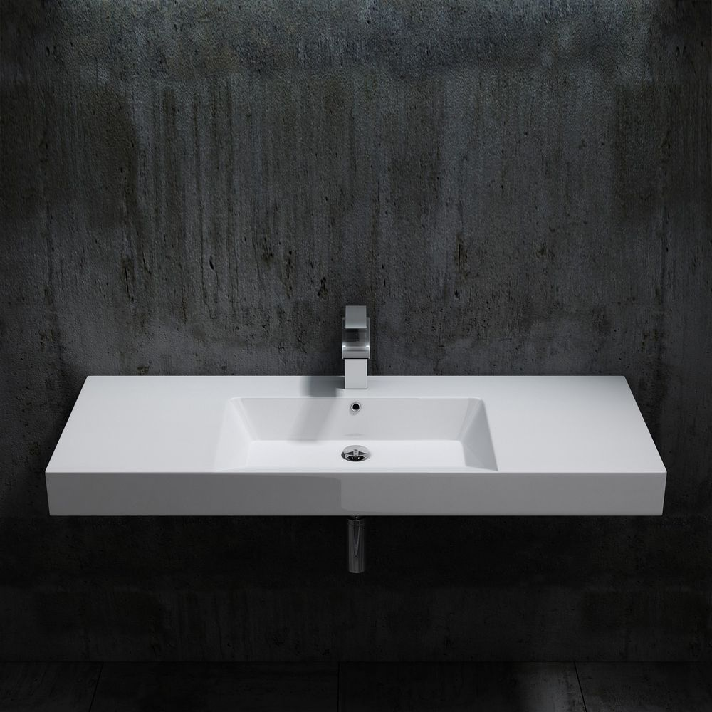 Wall hung basin / wall mounted basin- cast marble - BS6036 - white -122 x 48 x 13,5 cm  – Bild 2