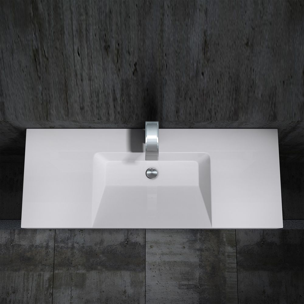 Wall hung basin / wall mounted basin- cast marble - BS6036 - white -122 x 48 x 13,5 cm  – Bild 3