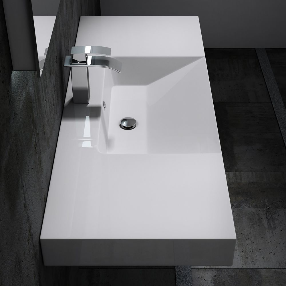 Wall hung basin / wall mounted basin- cast marble - BS6036 - white -122 x 48 x 13,5 cm  – Bild 4