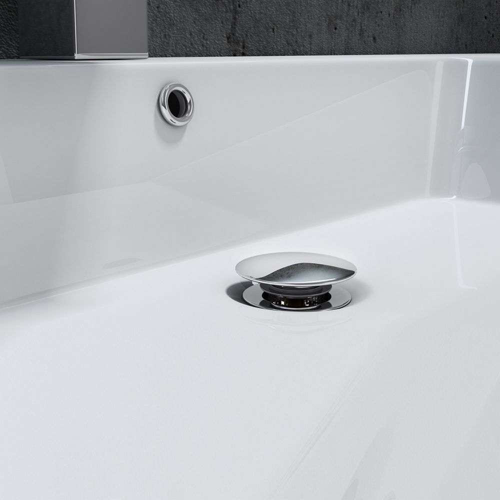 Wall hung basin / wall mounted basin- cast marble - BS6036 - white -122 x 48 x 13,5 cm  – Bild 5