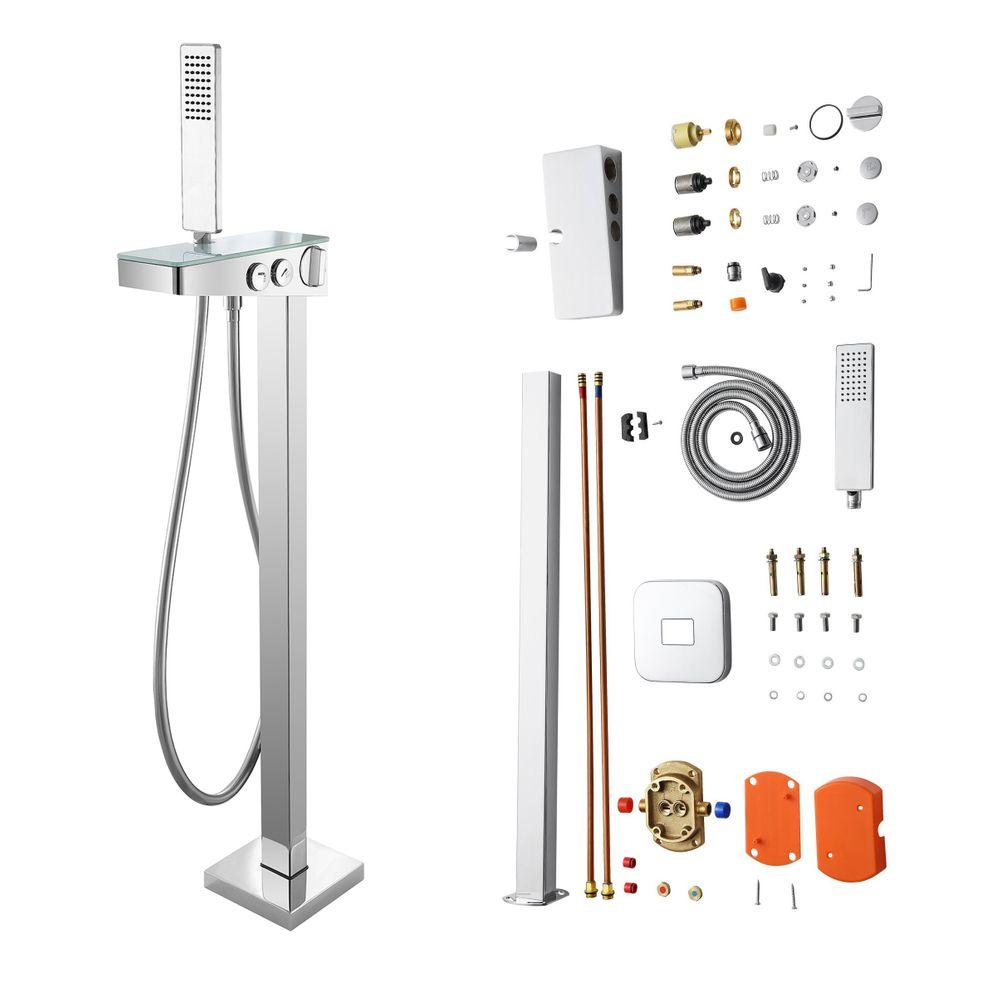 Freistehende Wannenarmatur NT6982 mit Glas - Wasserfall-Wanneneinlauf - inkl. Handbrause und Duschschlauch – Bild 5