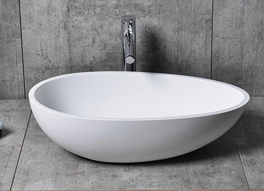 Aufsatzwaschbecken TWA65 aus Mineralguss Pure Acrylic - in Weiß oder Schwarz - 60x35x16cm