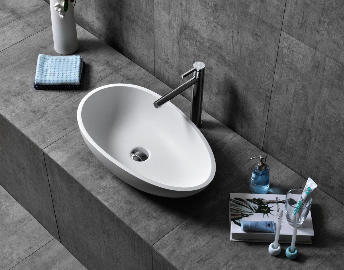 Counter top basin TWA65 of mineral cast (Pure Acrylic) - white or black - 60x35x16cm – Bild 3