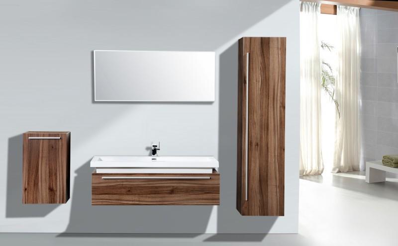 Badmöbel Set N1200 walnuss - Spiegel und Seitenschränke optional