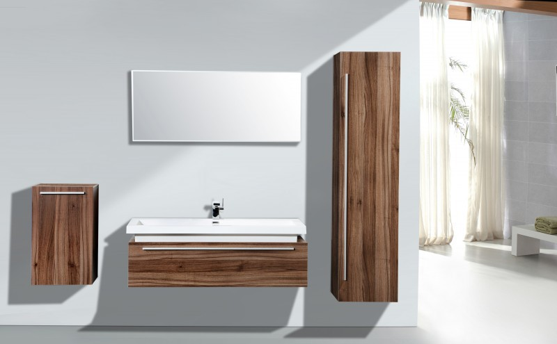Bathroom forniture set N1200 - wood - mirror cabinet and wall-mounted cabinet optional – Bild 1