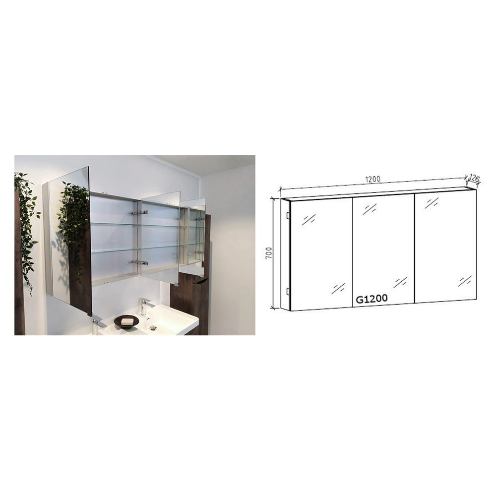 Bathroom forniture set N1200 - wood - mirror cabinet and wall-mounted cabinet optional – Bild 9