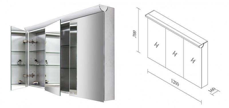 Badmöbel Set N1200 walnuss - Spiegel und Seitenschränke optional – Bild 10