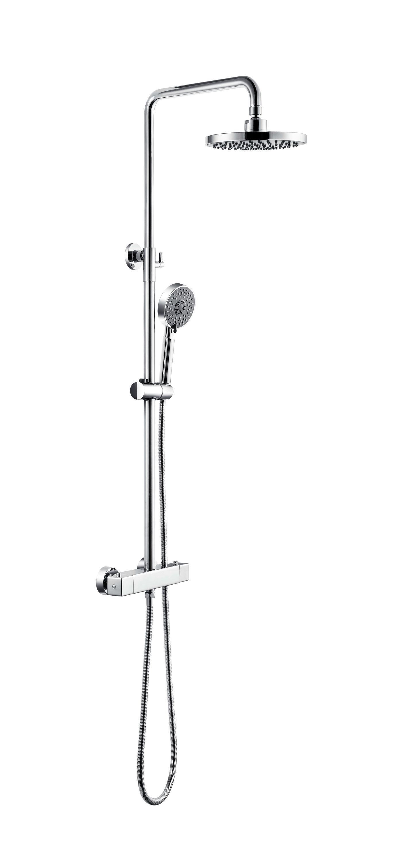 Système de douche combiné thermostatique NT6185C avec tête de douche, flexible et douchette à main