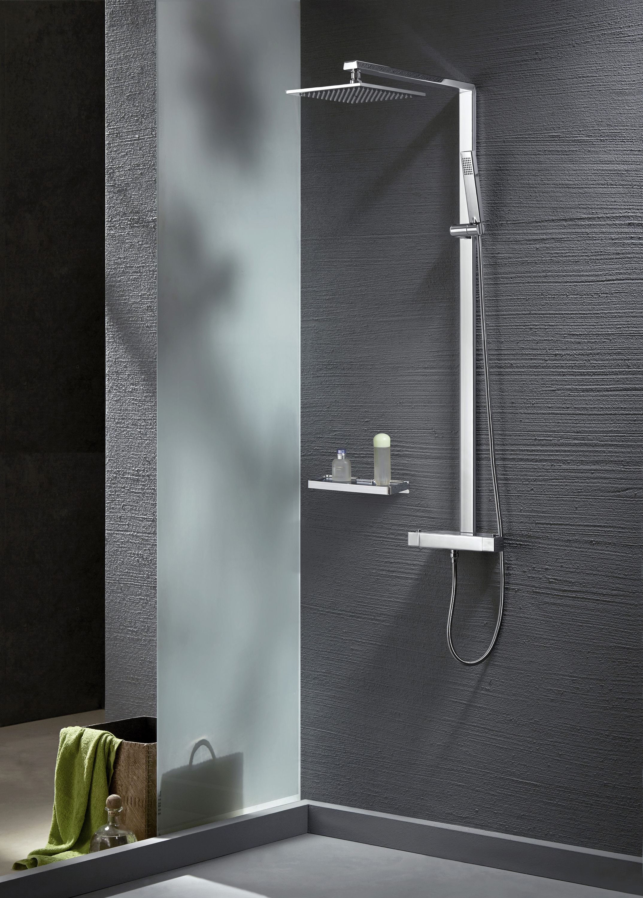 Thermostatic shower system NT6705C with shower hose and hand shower - squared shower head optional