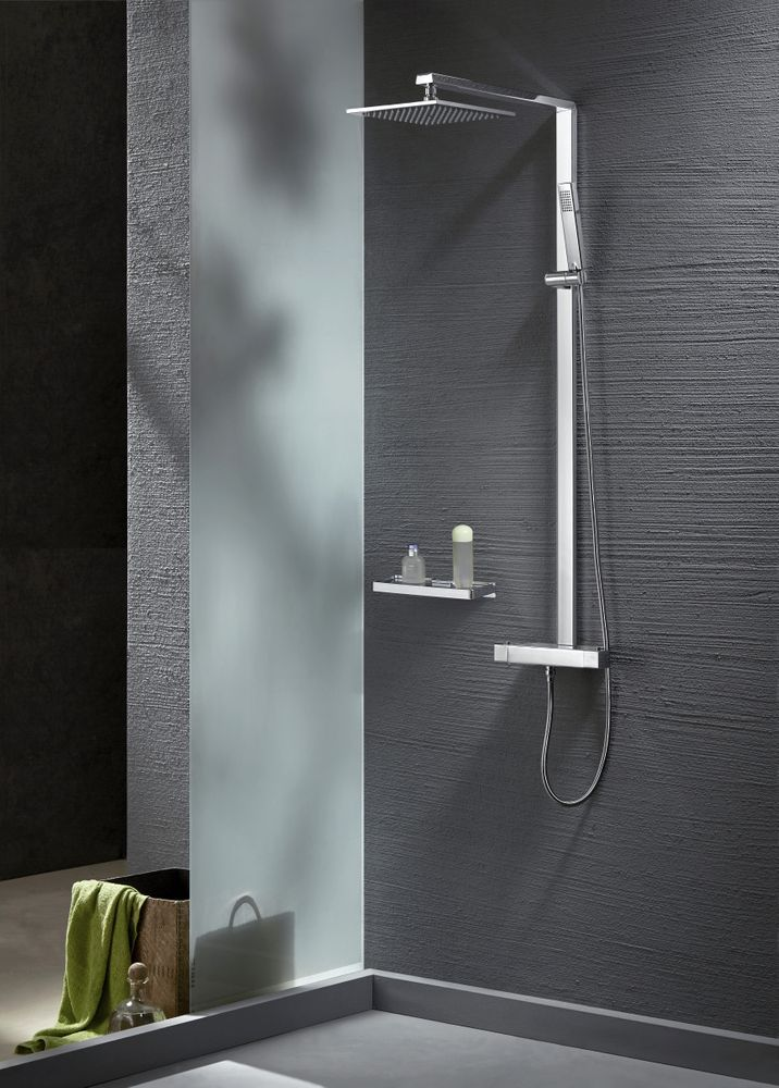 Thermostatic shower system NT6705C with shower hose and hand shower - squared shower head optional – Bild 1
