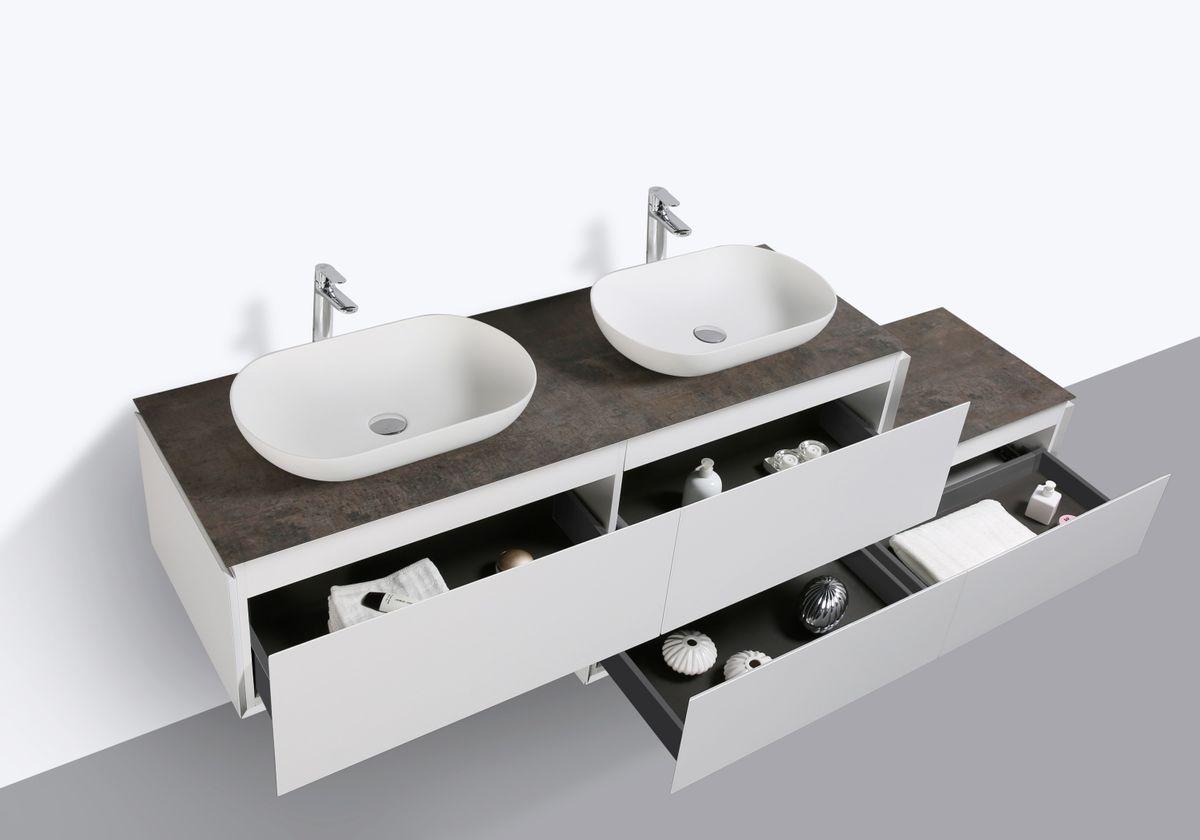 Badmöbel-Set Spring 1500 Weiß Matt - Sideboard und Aufsatzwaschbecken optional – Bild 7