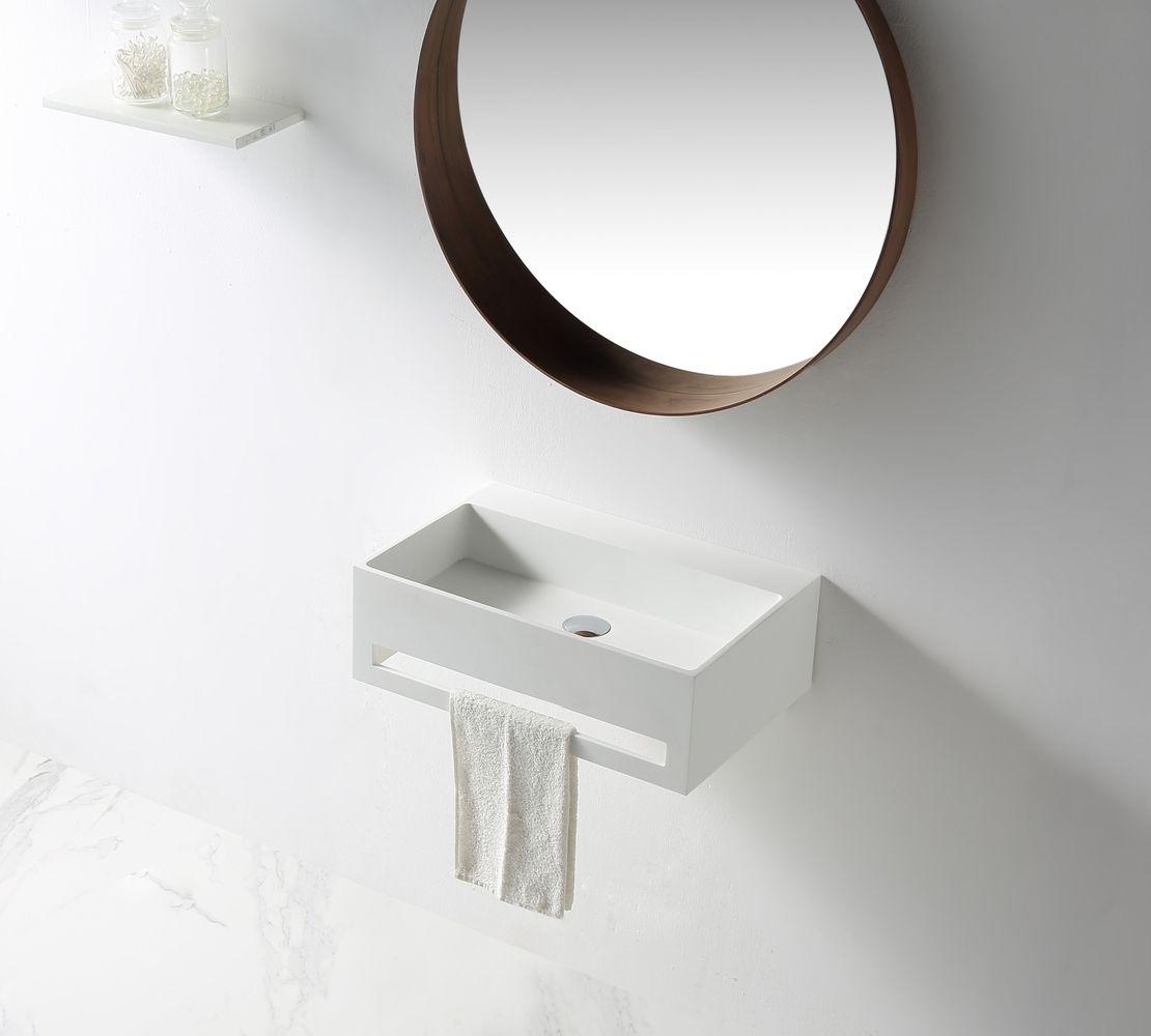 Wandwaschbecken TWG02 aus Mineralguss Solid Stone mit integriertem Handtuchhalter - 60x40x20cm – Bild 1