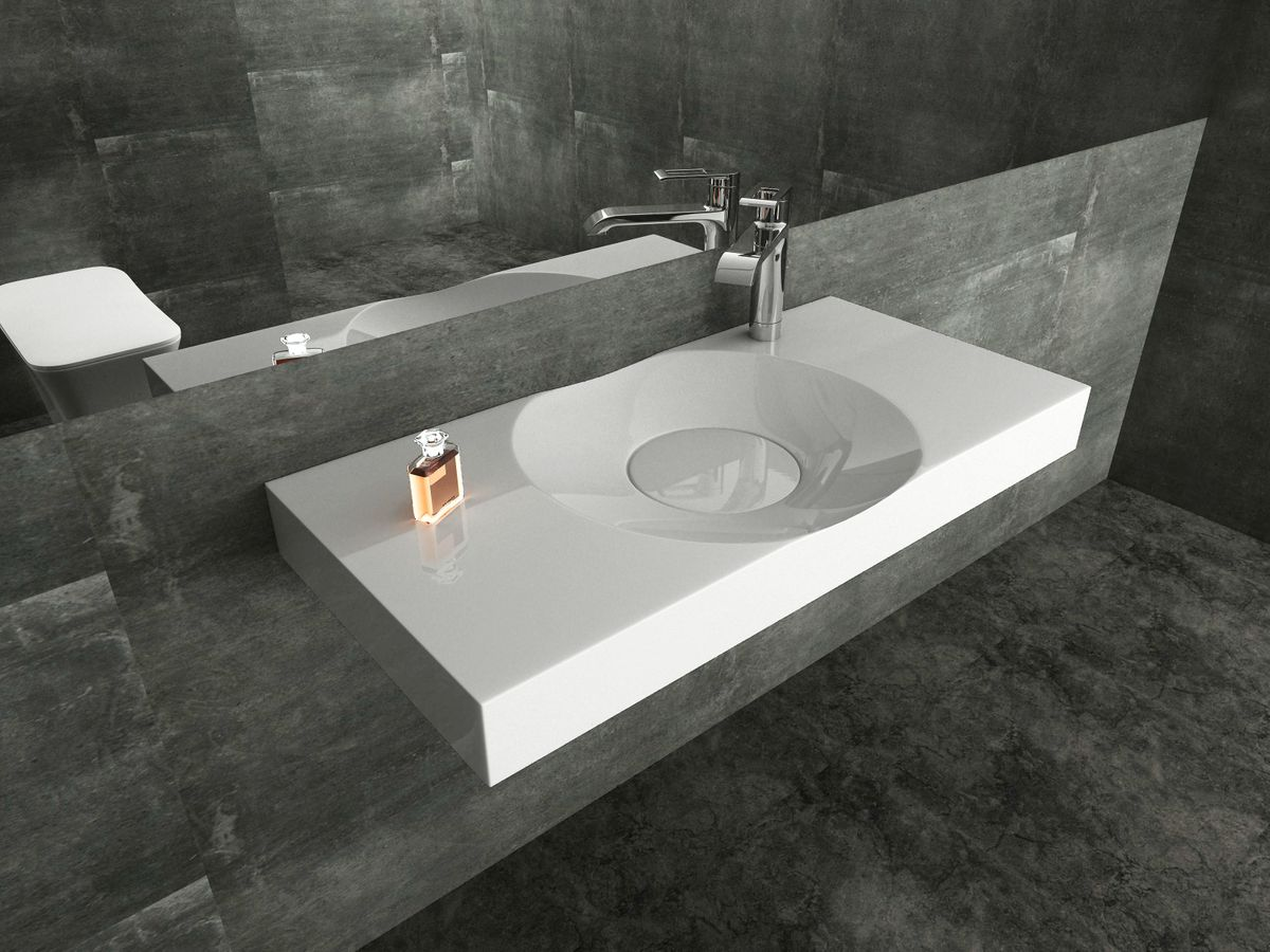 Design counter top / Wall-hung basin  BS6059 - glossy white - 100 x 48 x 10 cm  – Bild 1