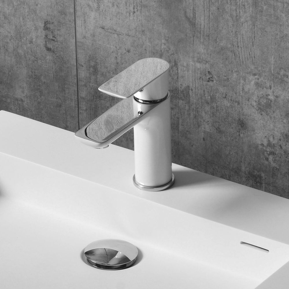 Chrome White Single Lever Basin Mixer Tap 4024CW  – Bild 1