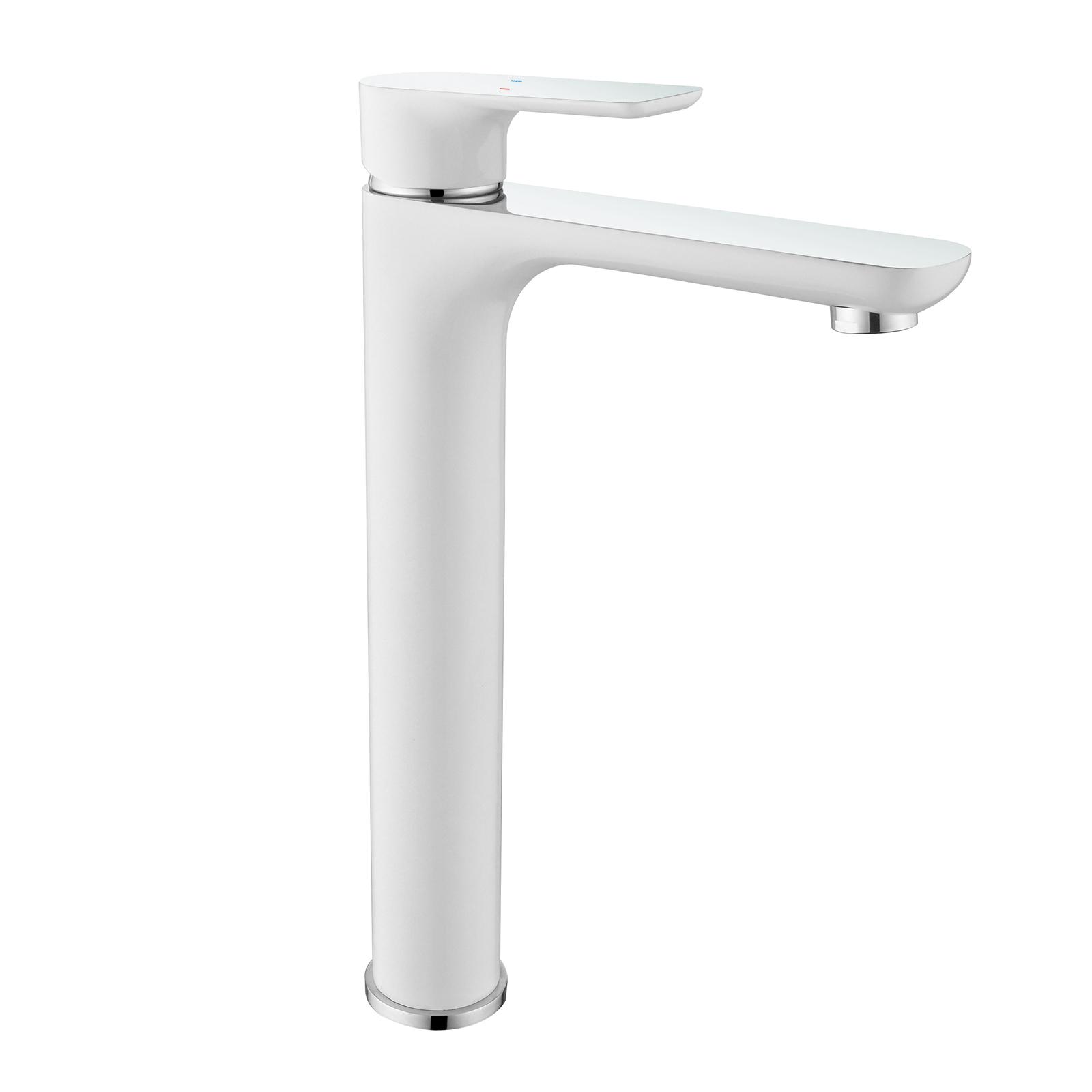 Hochwertige Waschtischarmatur Armatur Badarmatur 4025CW in Weiß/Chrom Glänzend