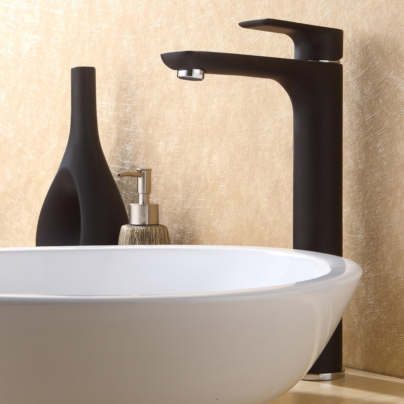 Robinet mitigeur pour salle de bain 4025cb noir mat le - Robinet noir salle de bain ...
