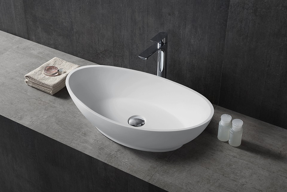 Vasque à poser TWA63 en pierre solide (Solid Stone) - blanc mat - 62,5x34,5x17,5cm – Bild 1