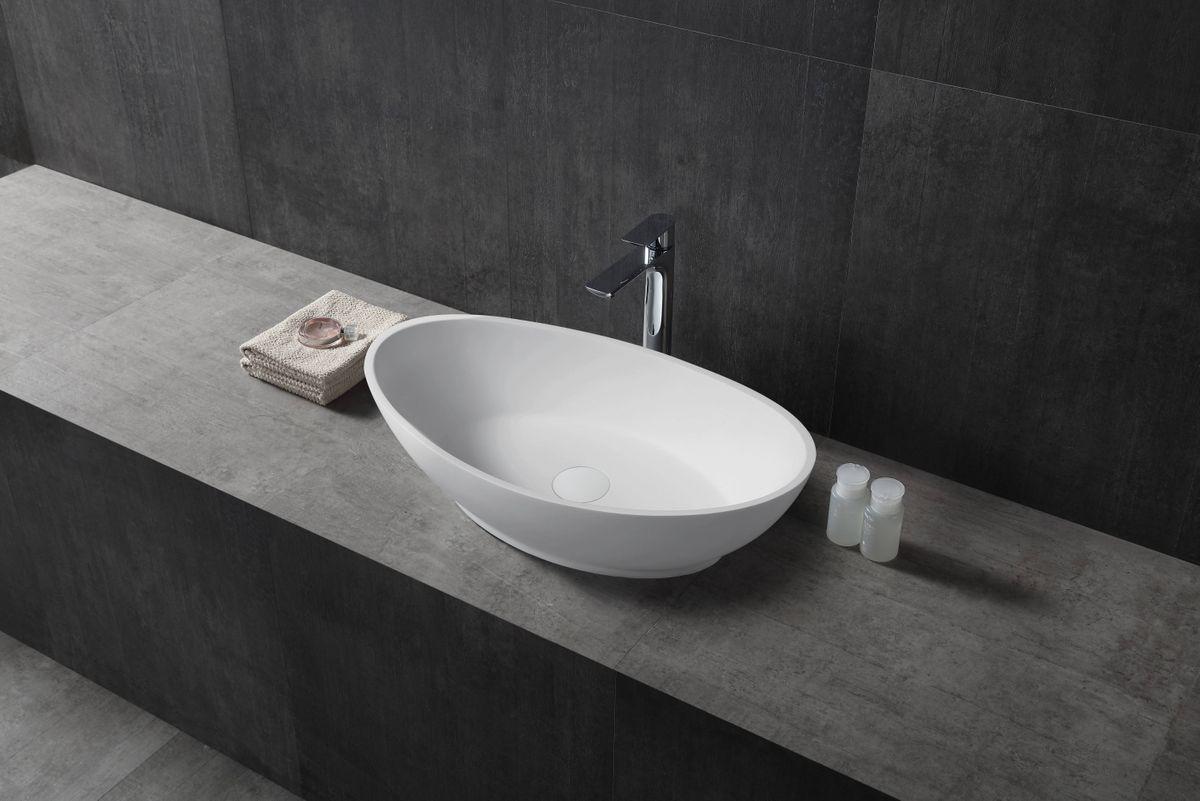 Vasque à poser TWA63 en pierre solide (Solid Stone) - blanc mat - 62,5x34,5x17,5cm – Bild 2