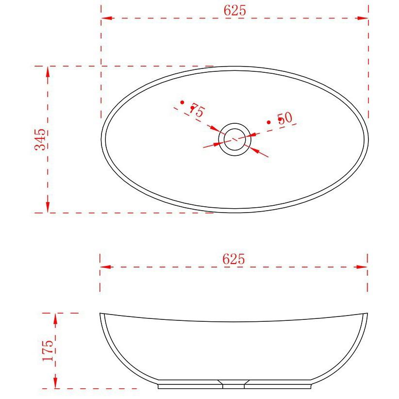 Aufsatzwaschbecken TWA63 aus Mineralguss Solid Stone - Hochglanz - 62,5x34,5x17,5cm – Bild 3