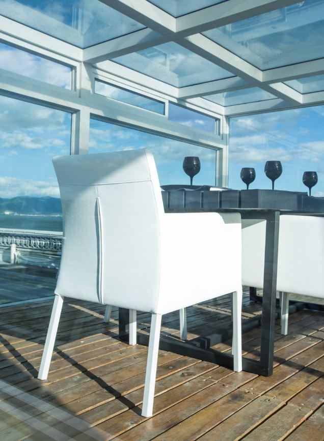 Gartenmöbel-Set Garten-Esstischgruppe DINING - Alu-Gartentisch in Weiß - Sessel aus Sunbrella-Textil – Bild 4